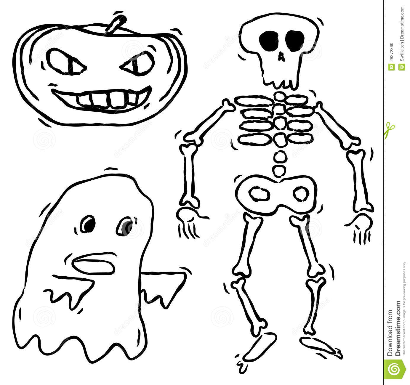 Hand Drawn Spooky Creatures Stock Vector