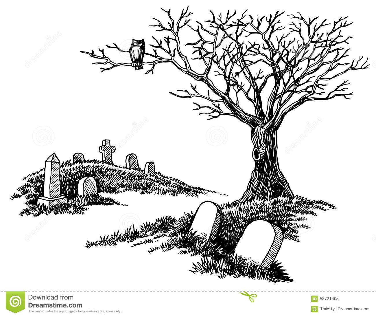 Hand Drawn Spooky Graveyard Stock Vector