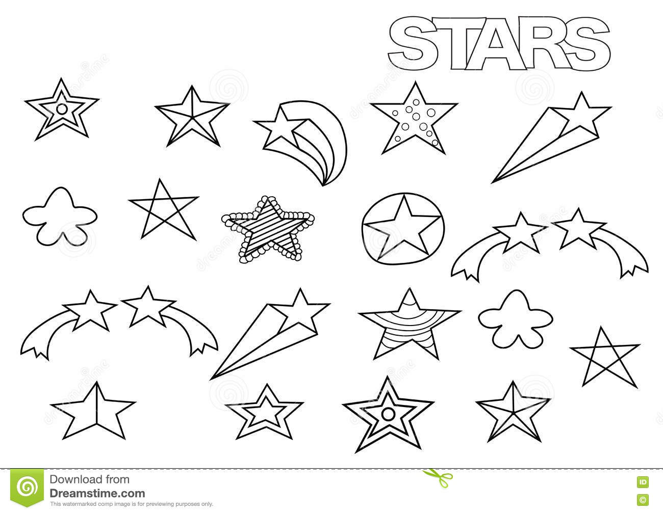 Hand Drawn Stars Set. Coloring Book Page Template. Stock