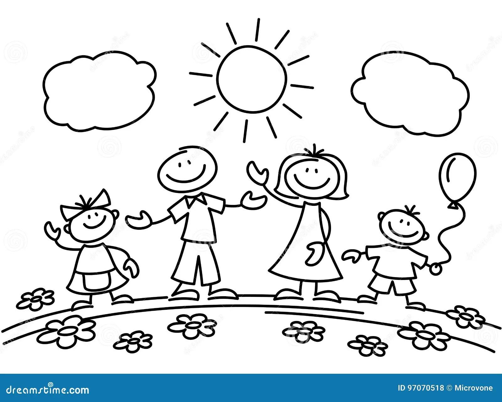 Hand Drawn Stick Figure Happy Family Vector Illustration