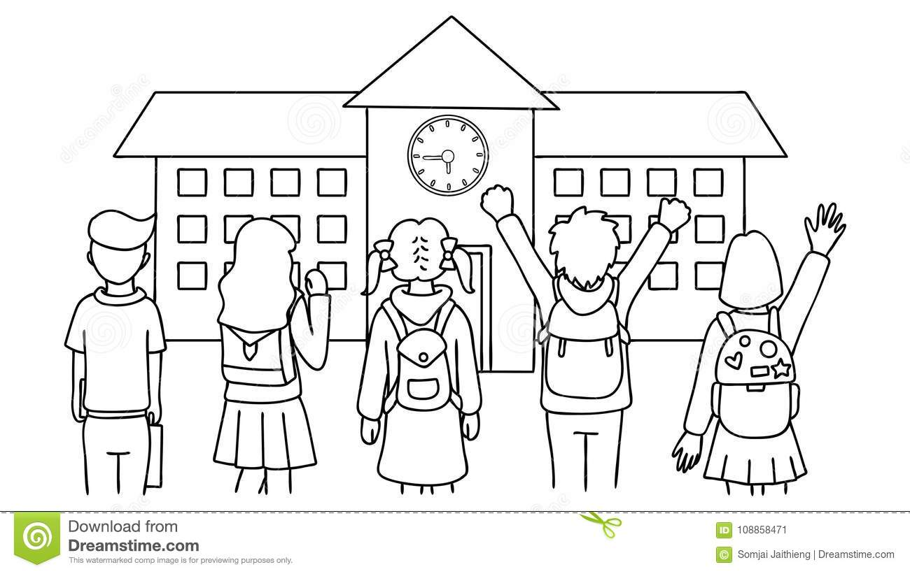 Hand Drawn Students Standing In Front Of School House,back