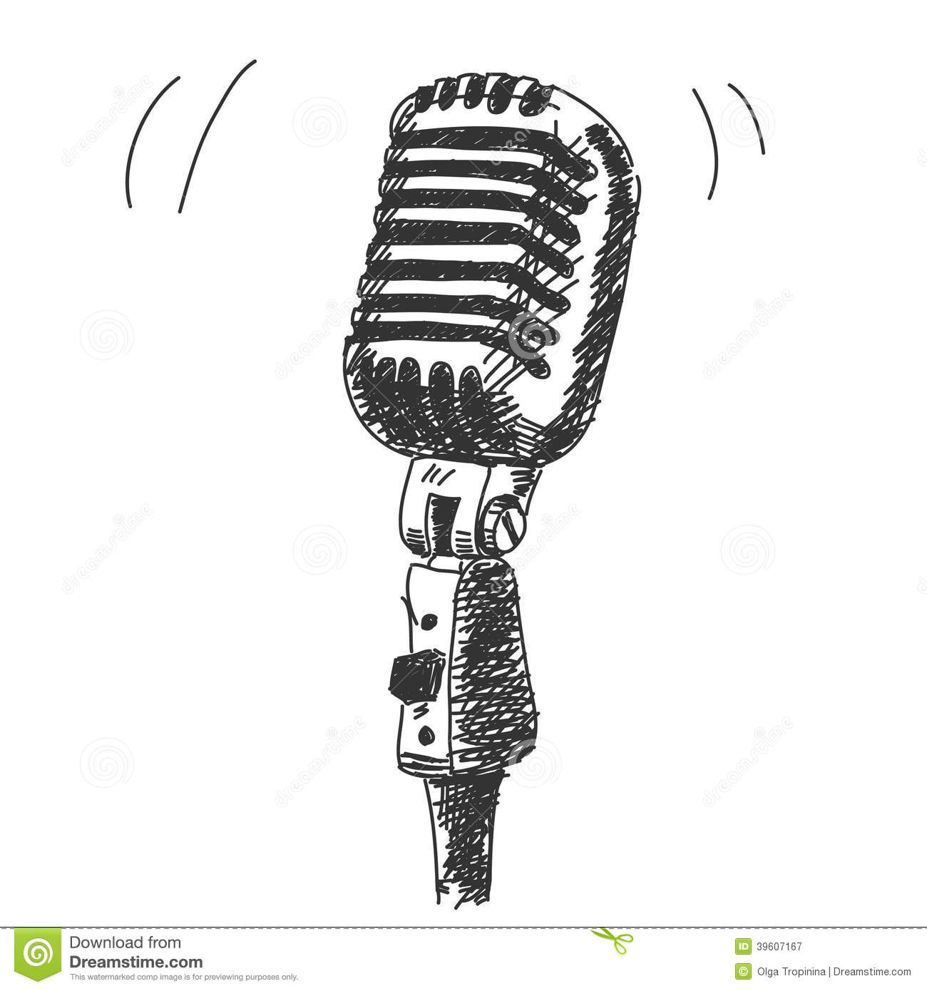 Hand Drawn Studio Microphone Stock Vector