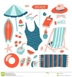 hand drawn summer beach object collection doodle style vector design template vacation clipart  [ 1300 x 1390 Pixel ]