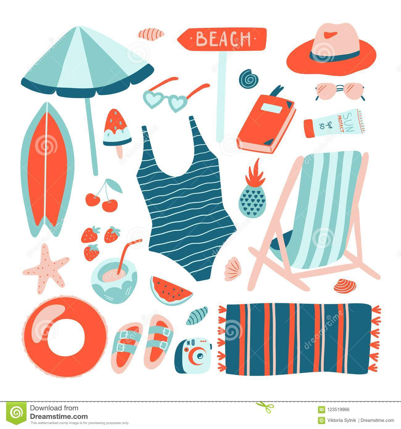 hight resolution of hand drawn summer beach object collection doodle style vector design template vacation clipart