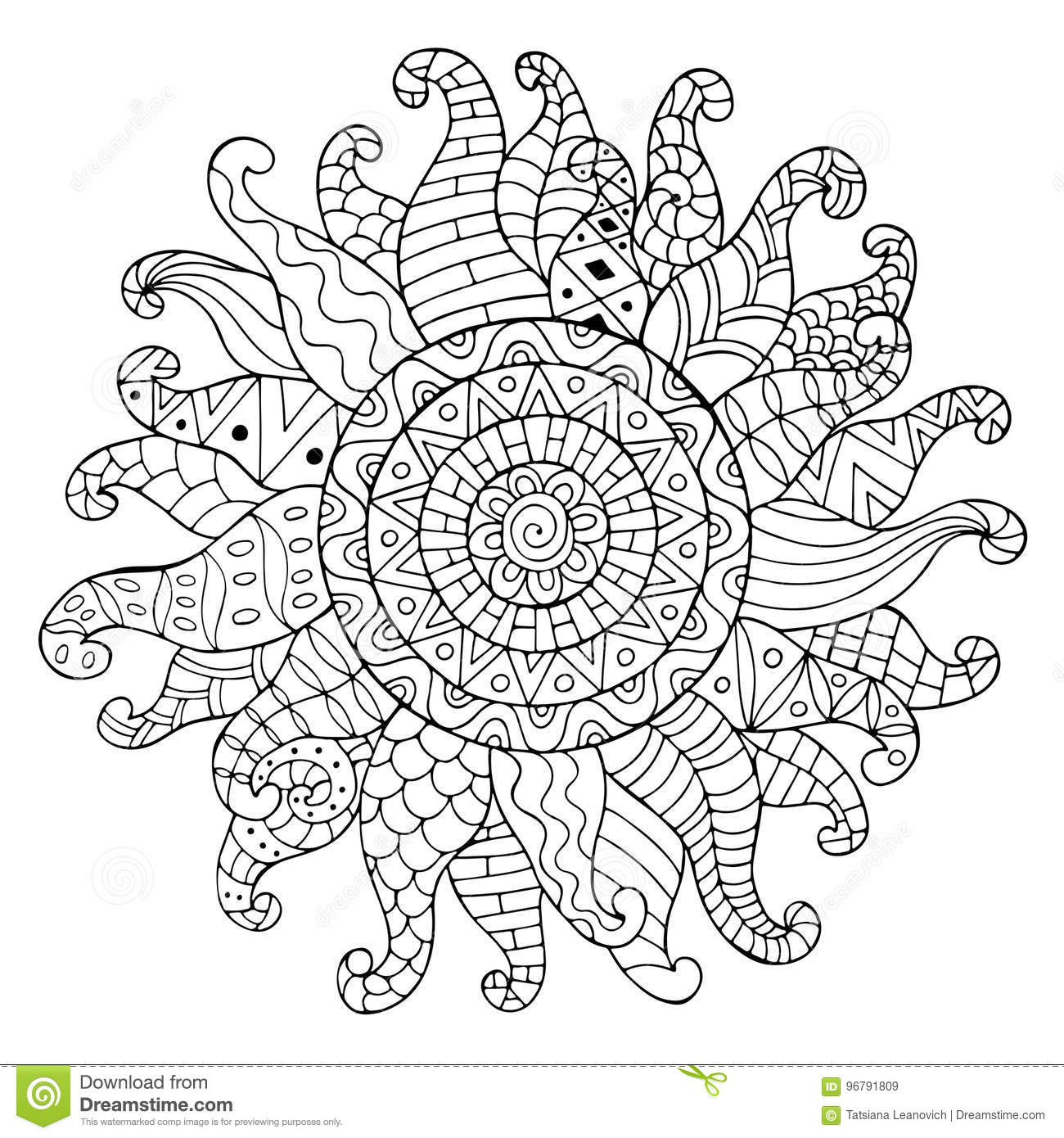 Hand Drawn Sun For Anti Stress Colouring Page. Stock