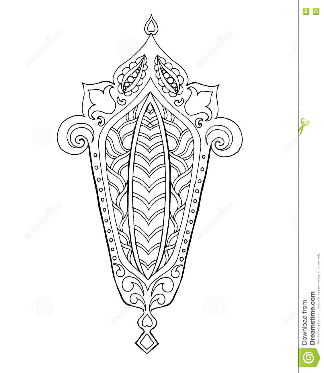 Hand Drawn Traditional Lantern Of Ramadan. Stock Vector
