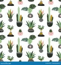 Hand Drawn Tropical House Plants. Scandinavian Style ...