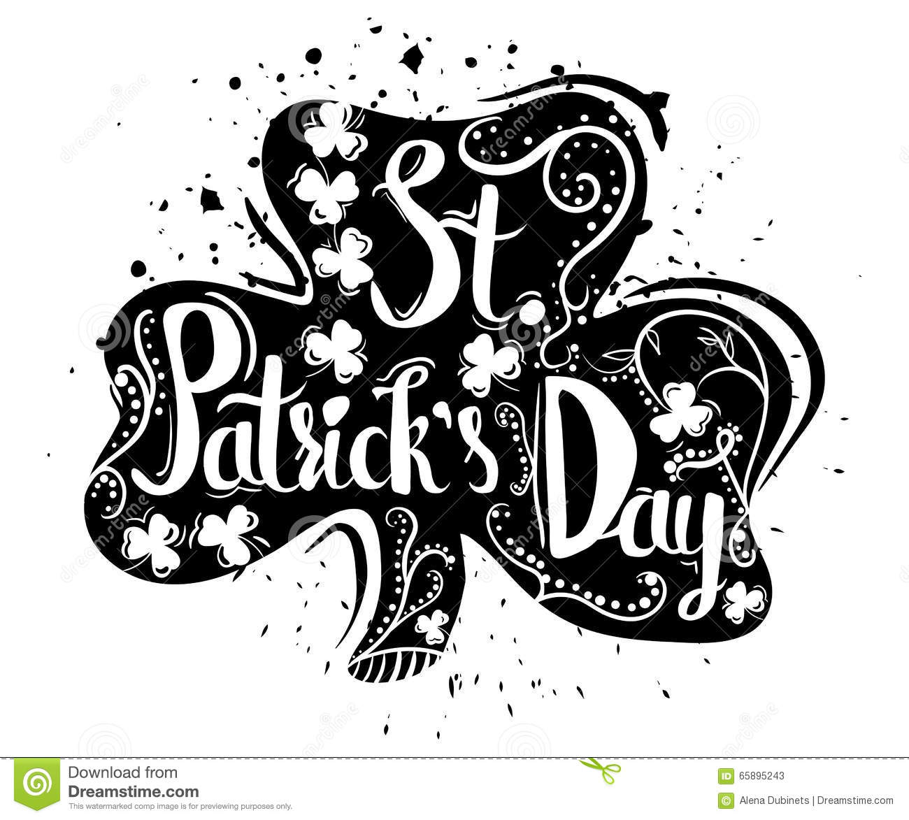 Hand Drawn Typography Poster For St Patrick S Day In Ireland Isolated On White Background