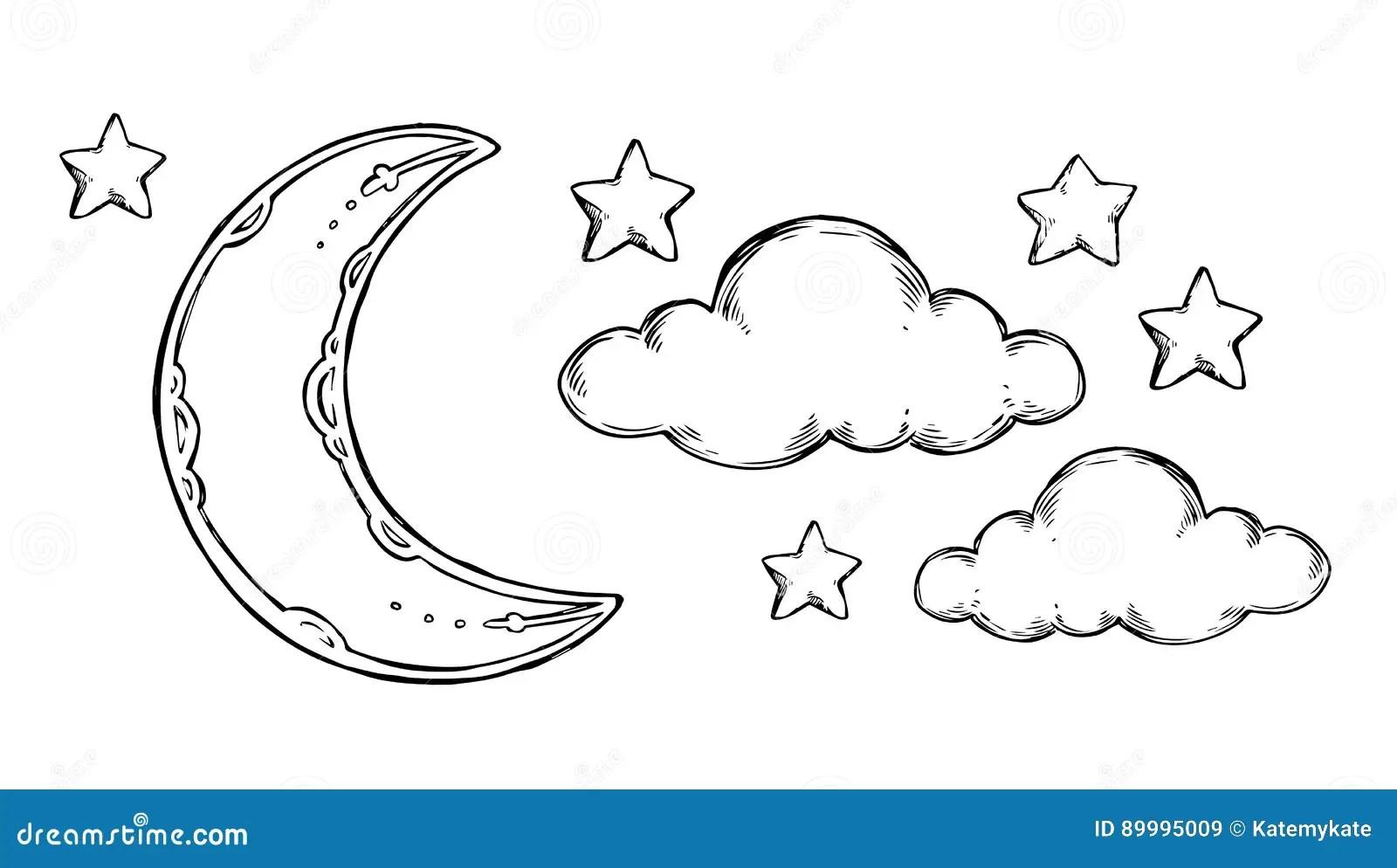 Hand Drawn Vector Elements Good Night Sleeping Moon