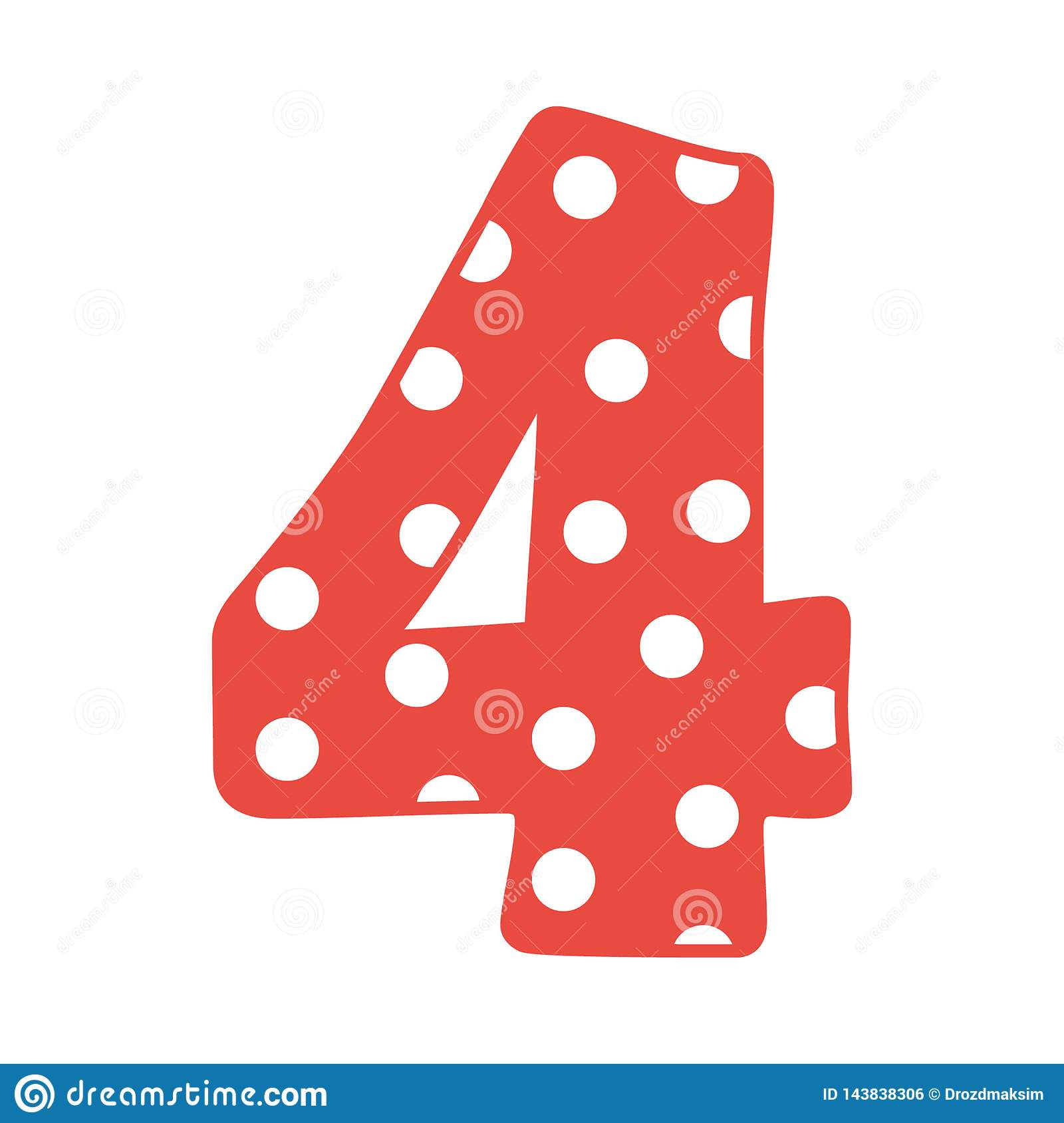 Hand Drawn Vector 4 Four Number With Polka Dots Isolated