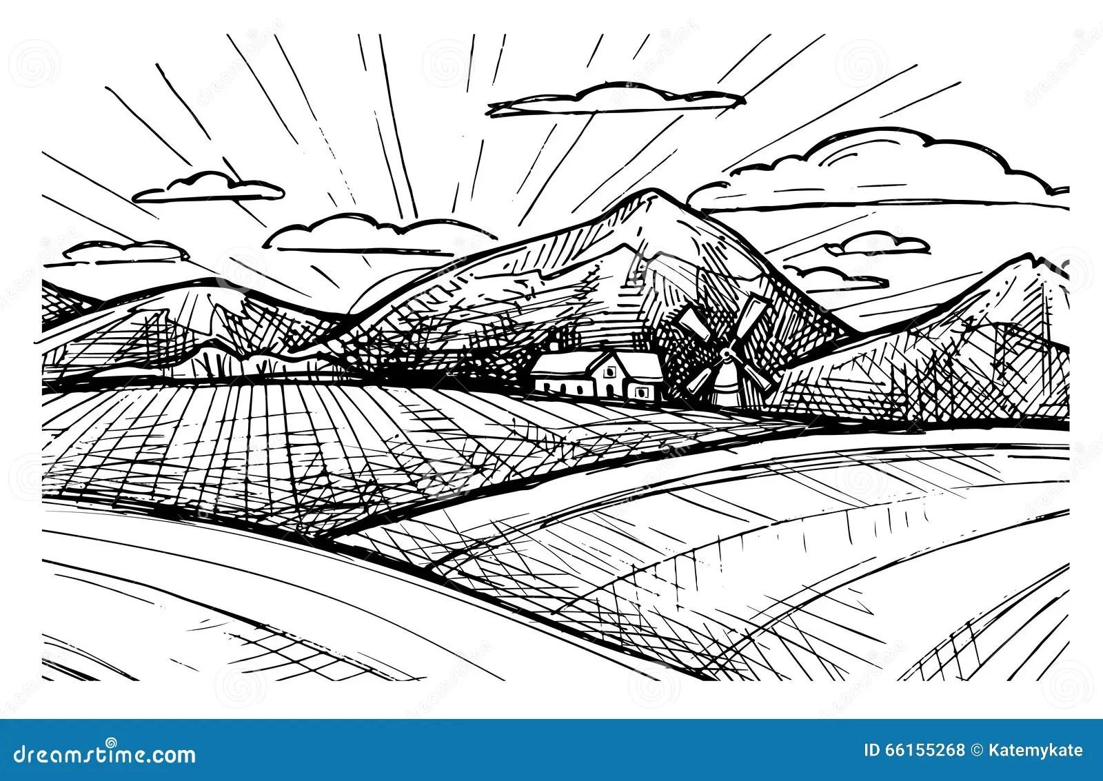 Vector Illustration Of Farm. Vector Illustration