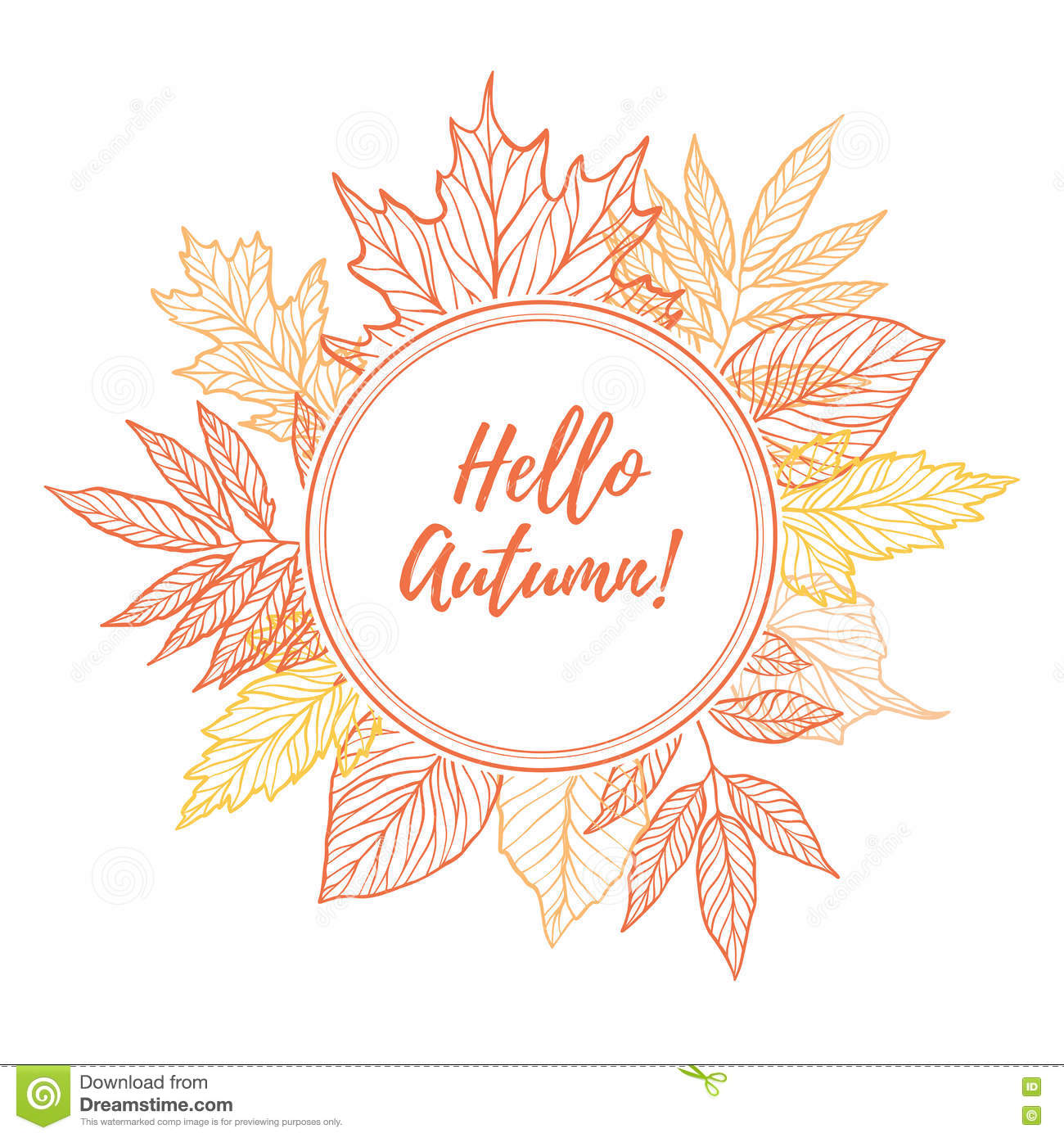 Autumn Falling Leaves Wallpaper Hand Drawn Vector Illustration Round Emblem With Fall