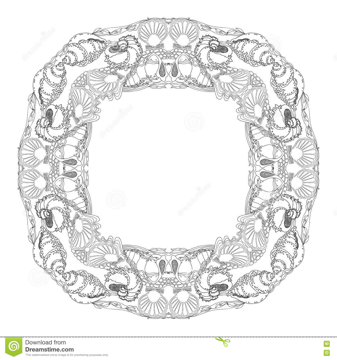 Hand Drawn Vector Ornamental Mandala For Coloring With