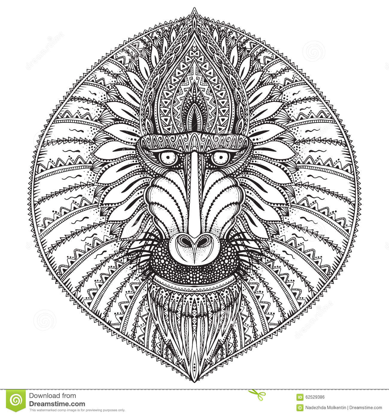 Hand Drawn Vector Ornate Baboon Face Illustration Stock