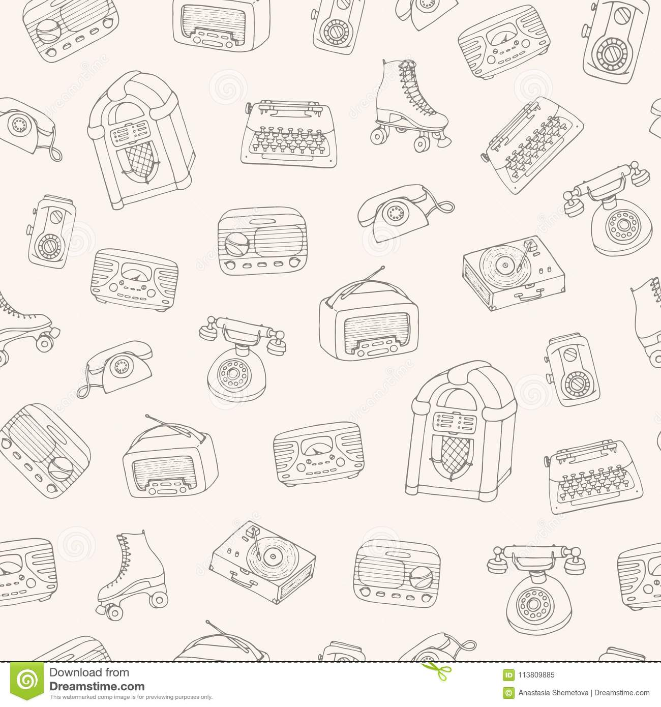 Hand Drawn Vector Retro Seamless Pattern With Antique Tech