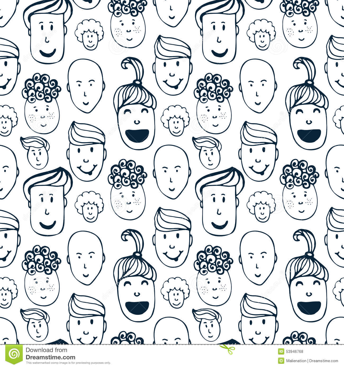 Cute Cartoon Faces Wallpaper Hand Drawn Vector Seamless Pattern With Illustration Of