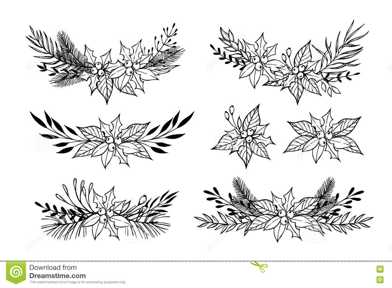 Hand Drawn Vector Set Of Winter Wreaths Laurel Leaf