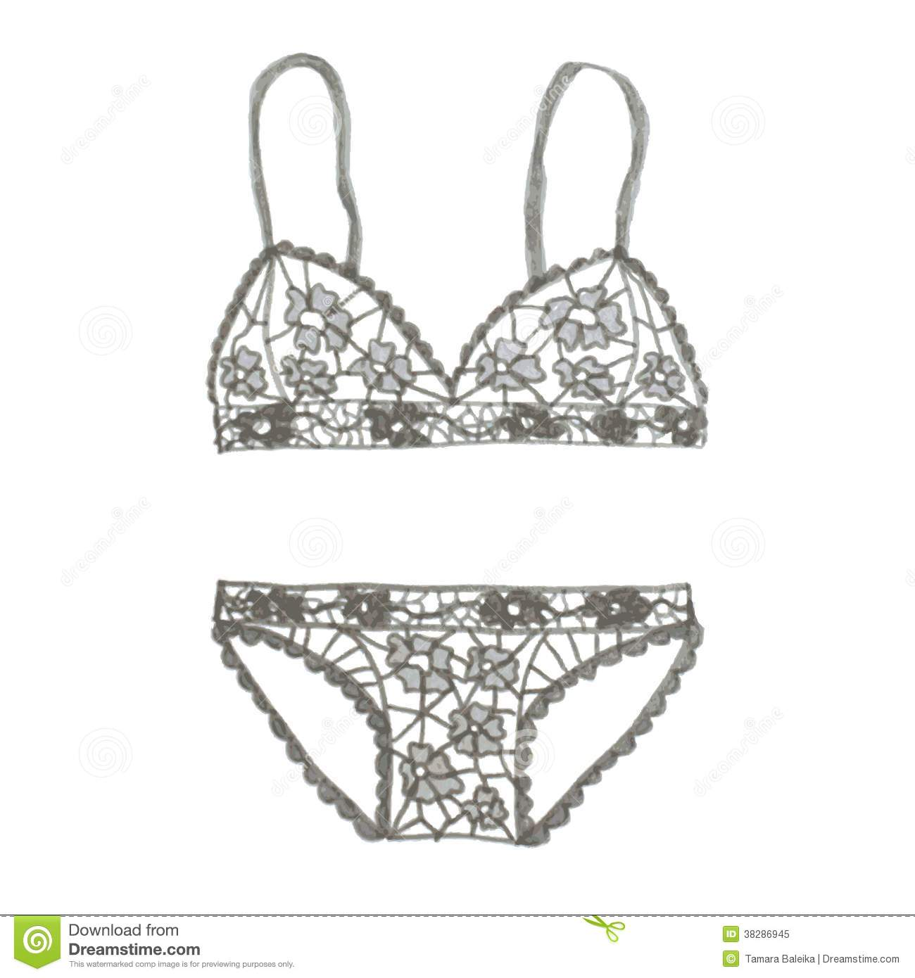 Hand Drawn Vector Lingerie Set Royalty Free Stock Photo
