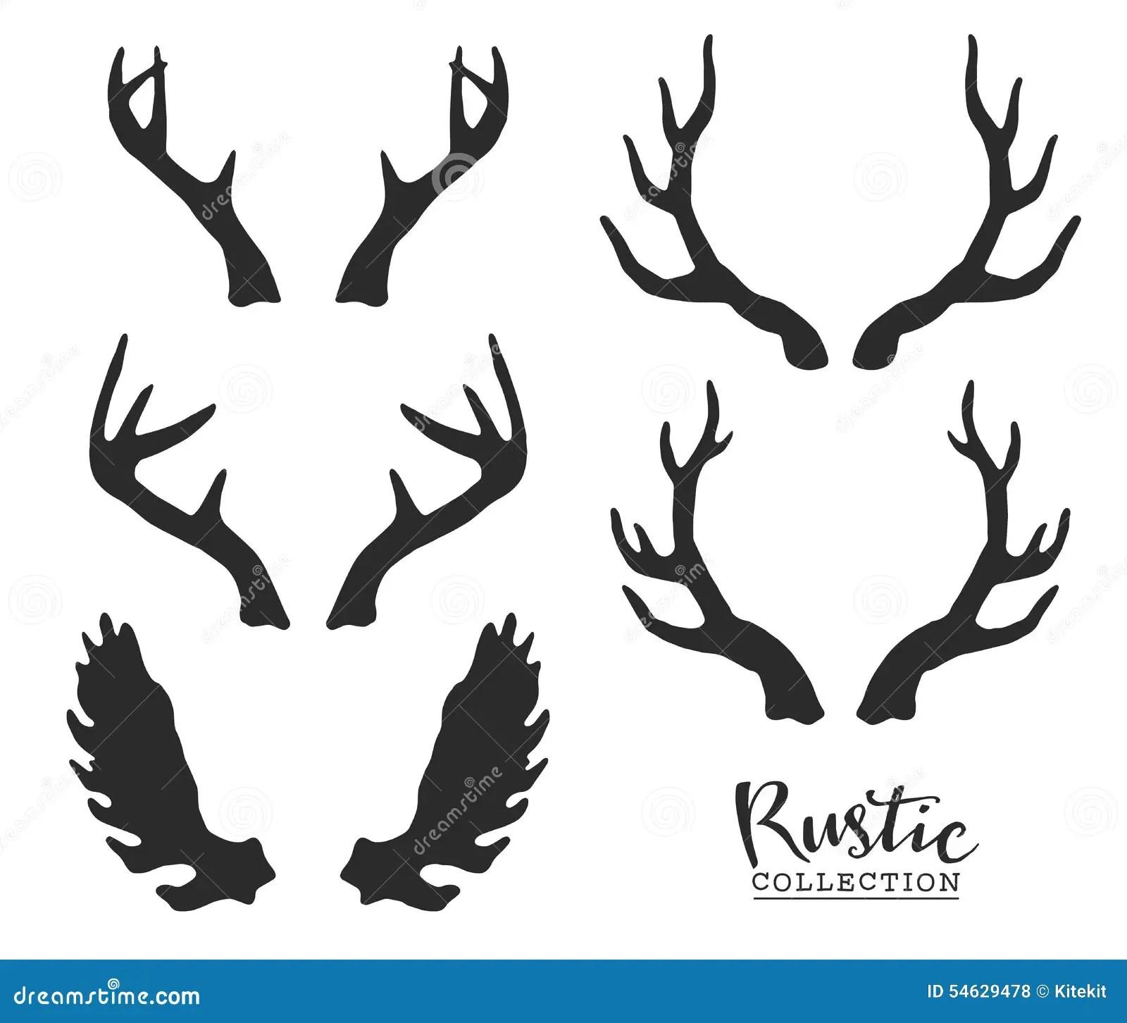 Hand Drawn Vintage Antlers Rustic Decorative Vector