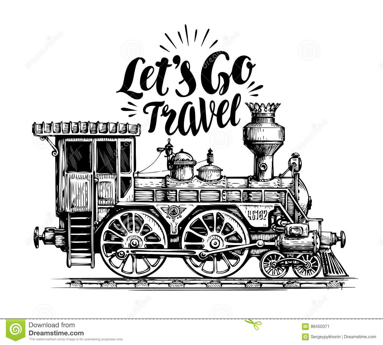 Hand Drawn Vintage Locomotive, Steam Train, Transport