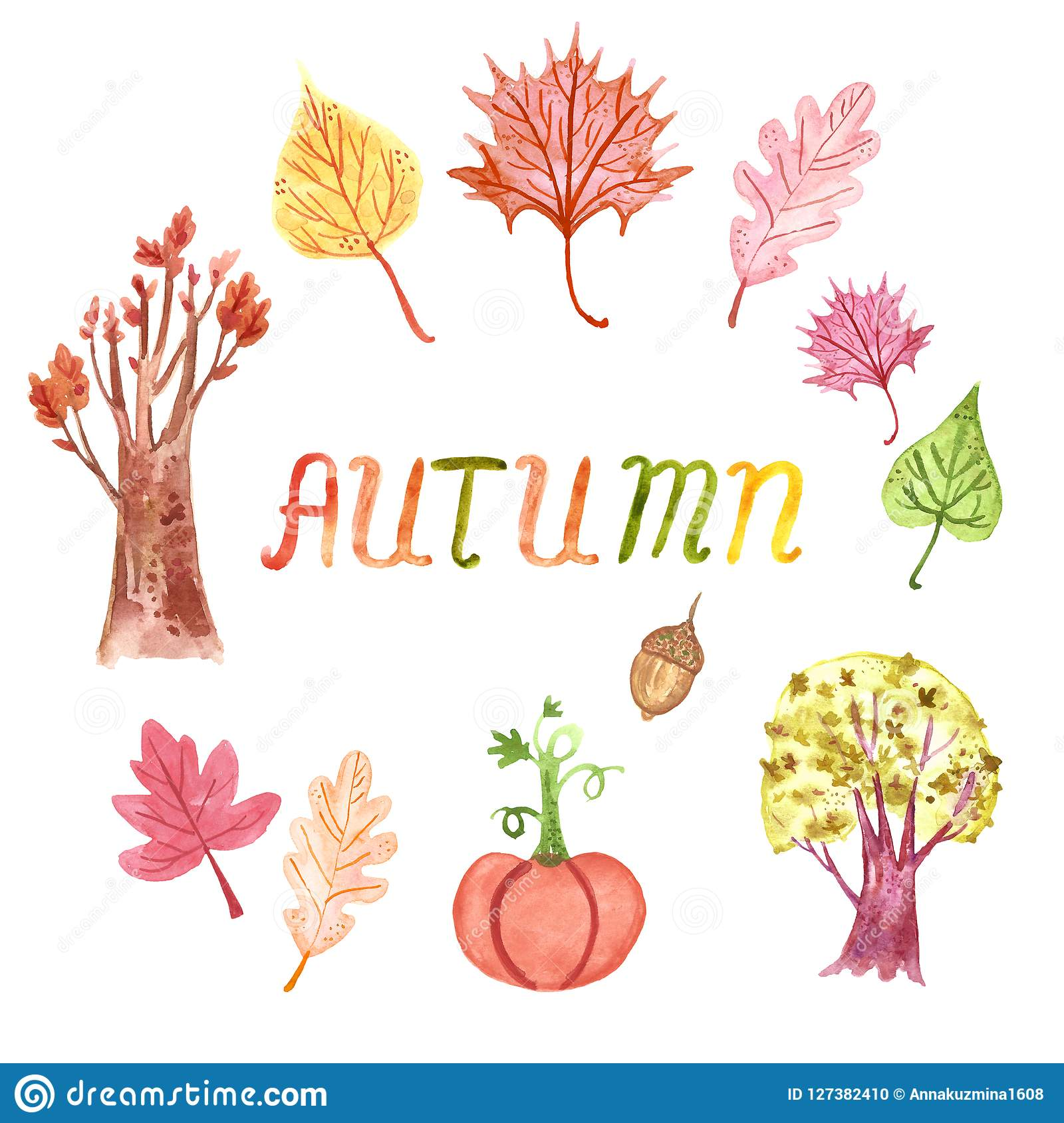 hight resolution of hand drawn watercolor autumn clipart