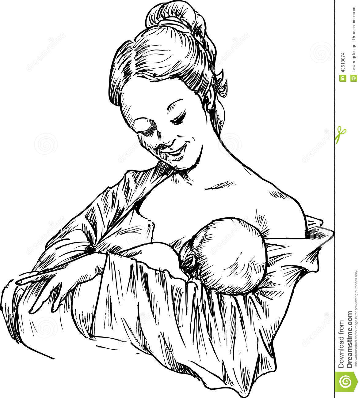 Daughter And Son Hugging Pregnant Mother Cartoon Vector