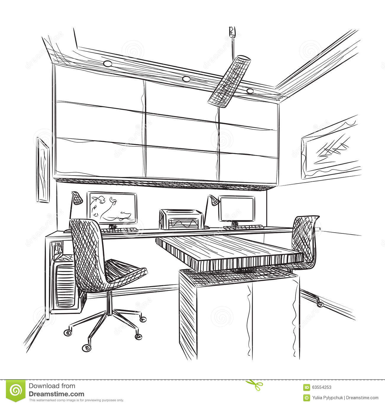Hand Drawn Workplace Vector Illustration