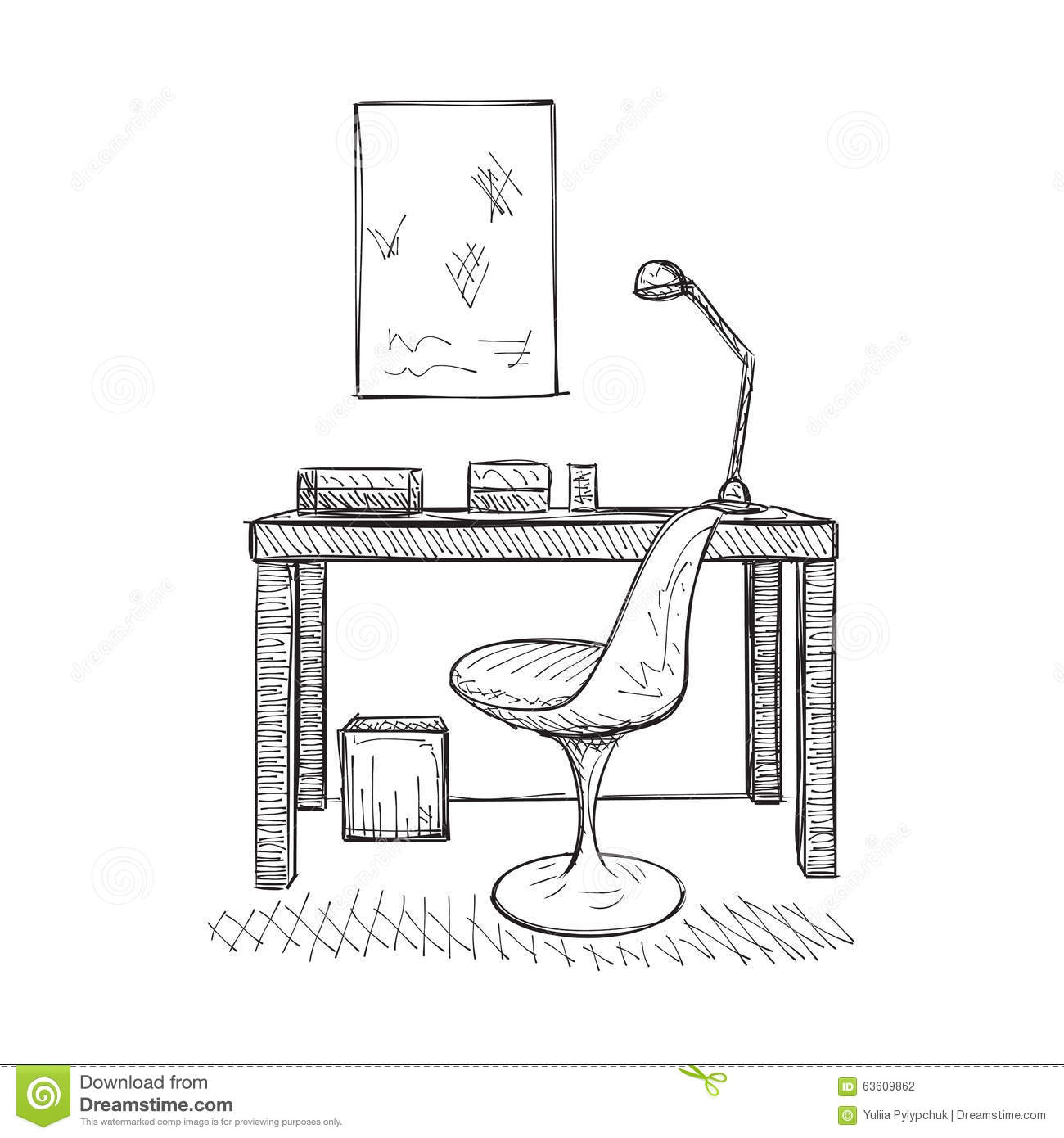 Hand drawn workplace stock vector. Illustration of hand