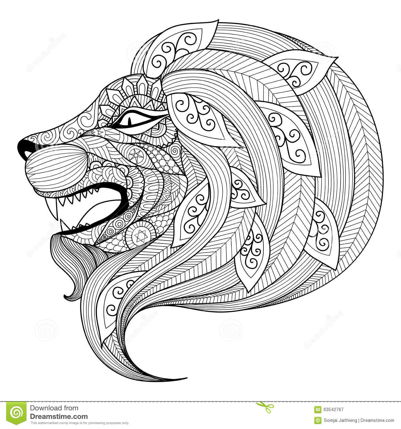 Hand Drawn Zentangle Angry Lion Puppy For Coloring Page