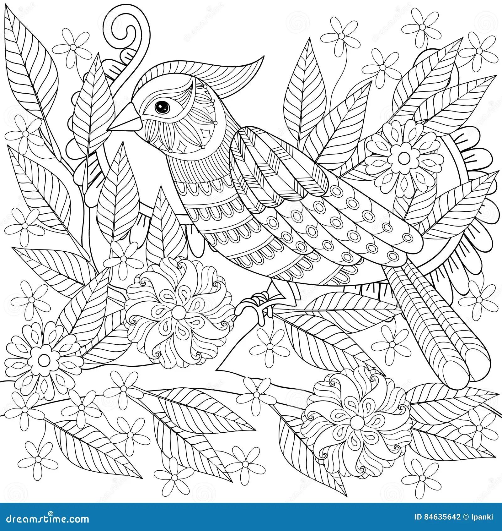 Hand Drawn Zentangle Bird Sitting On Blooming Tree Branch