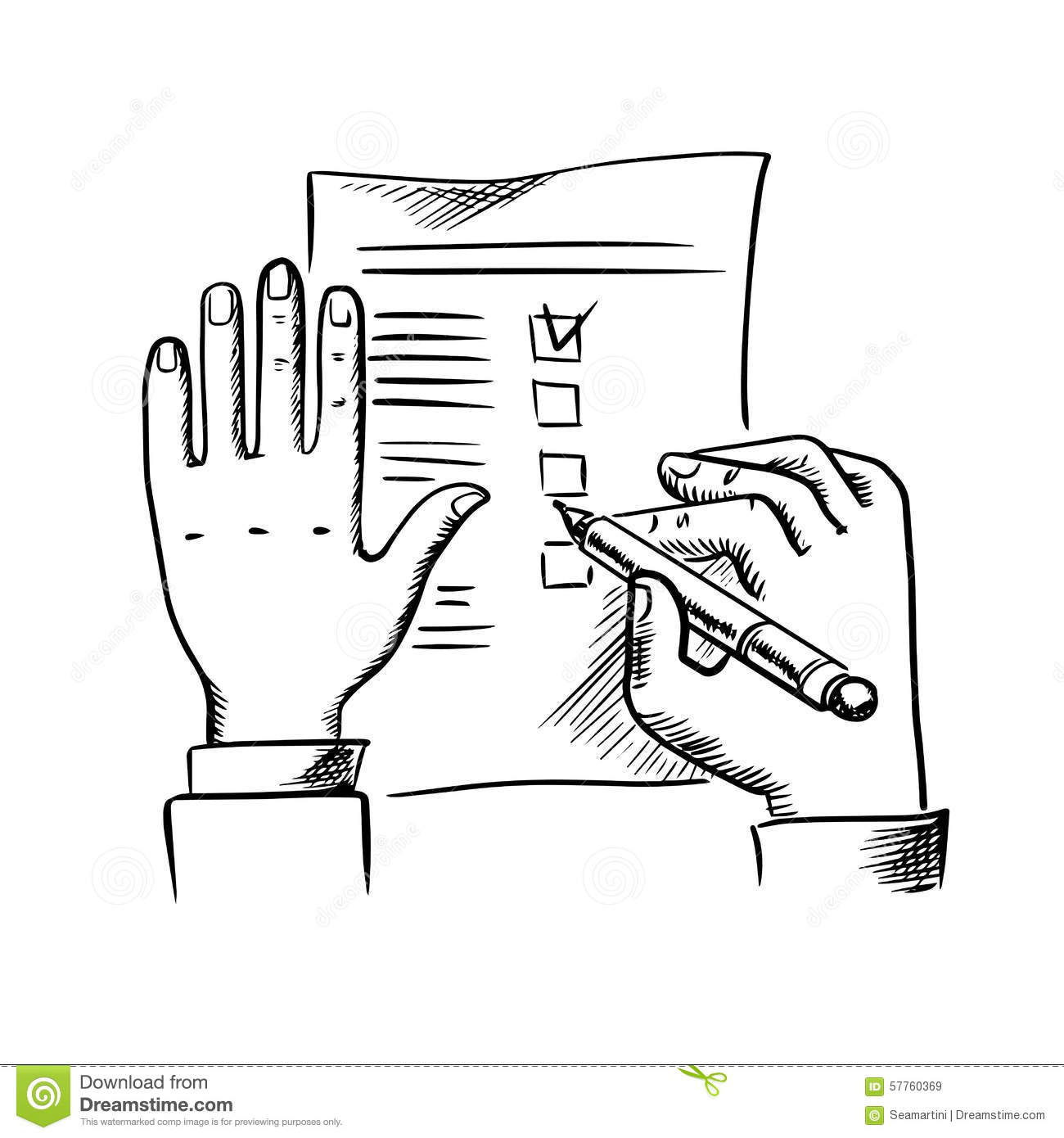 Hand Filling Checklist With Pen Stock Vector