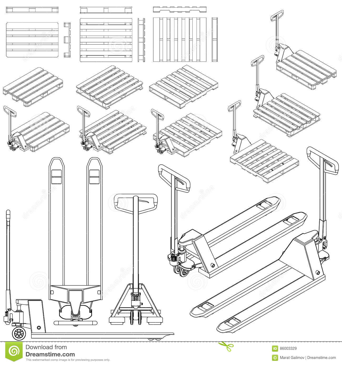 Hand Pallet Truck. Manual Forklift. Royalty-Free