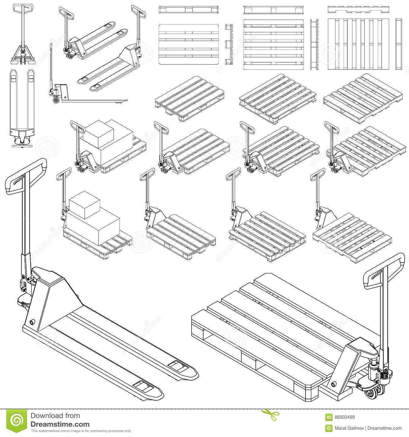 Hand Fork Lift Truck And Pallet Isometric Outline Drawing
