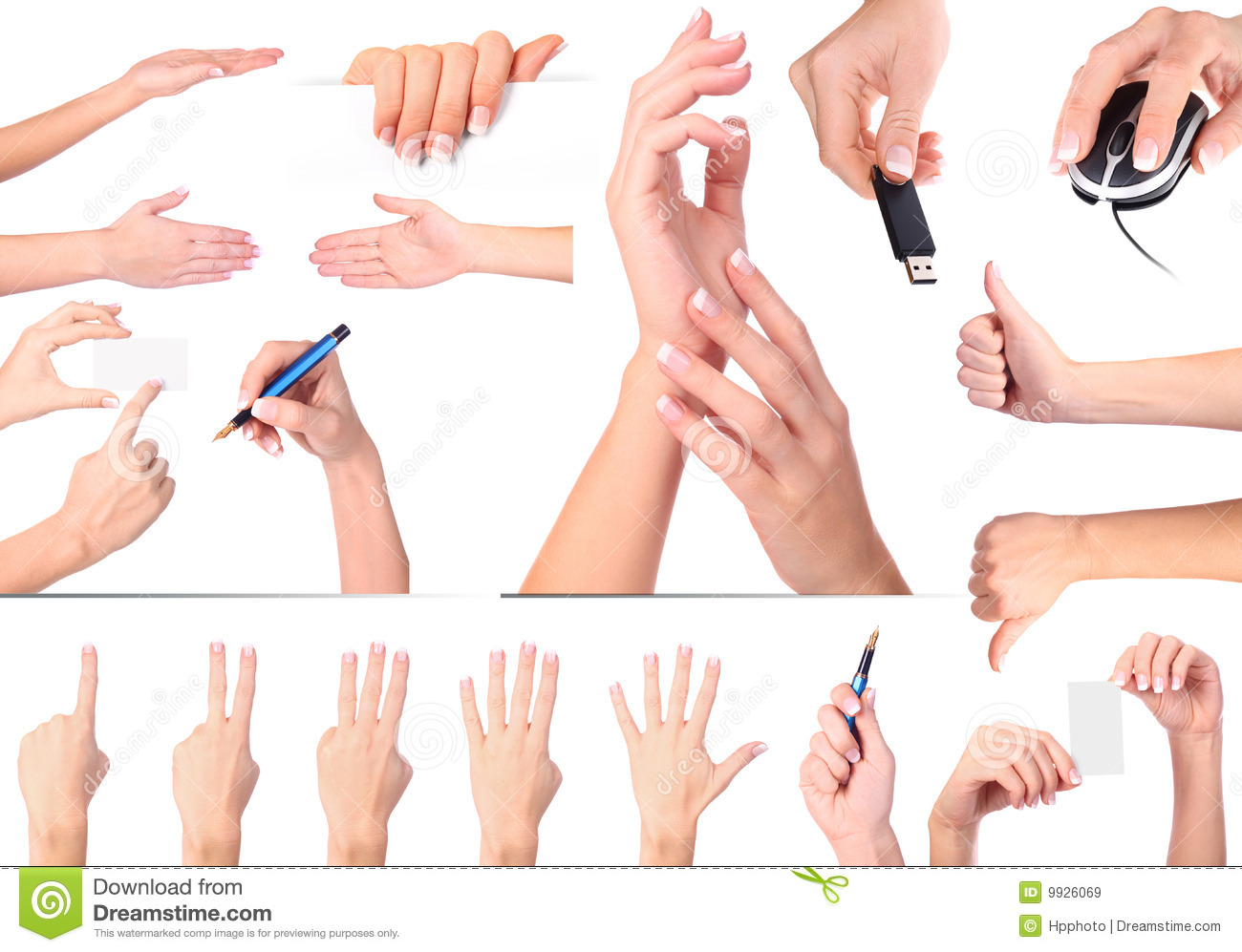 hand gestures set isolated