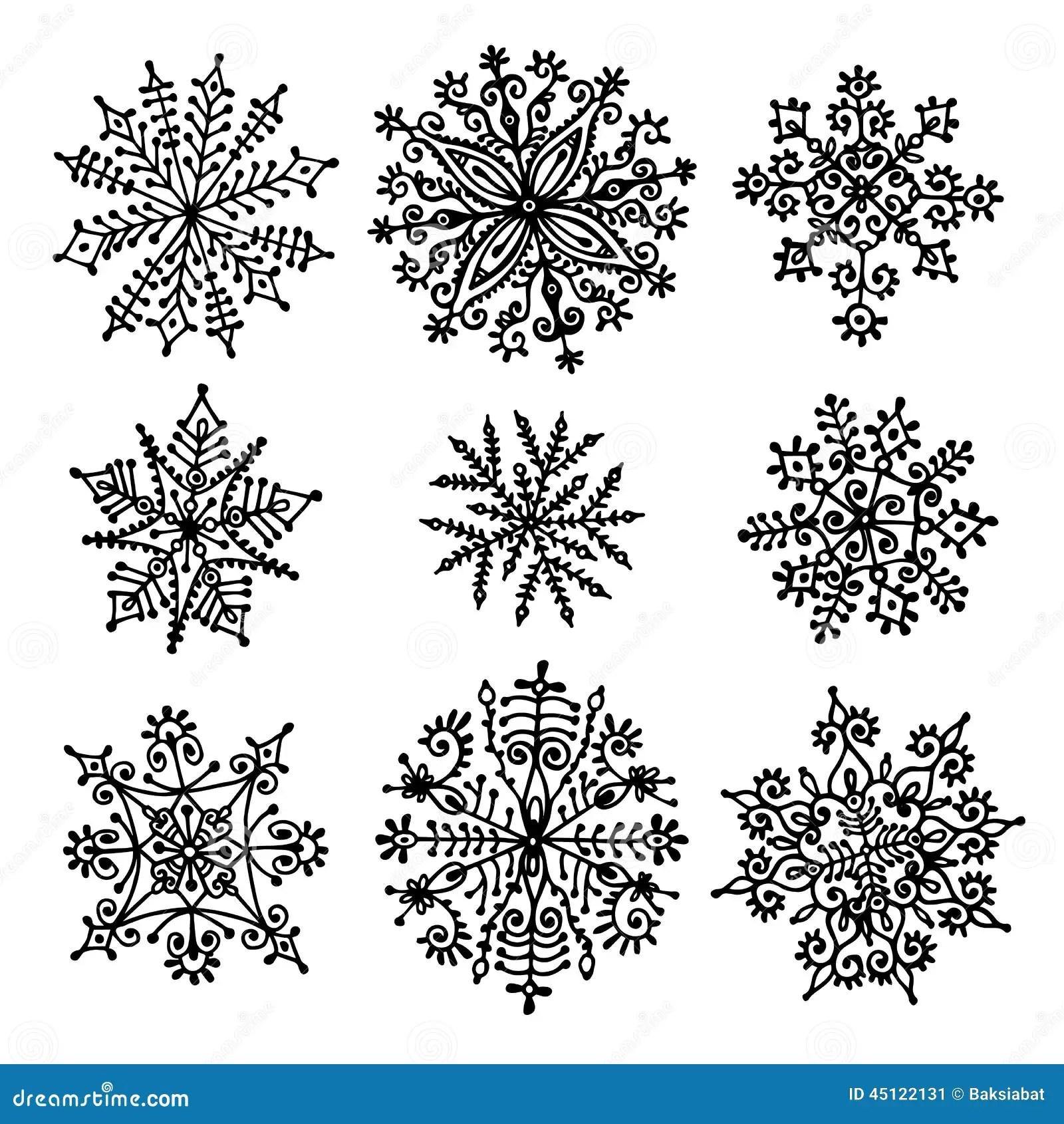 Hand Gezeichnete Schneeflocken Vektor Abbildung