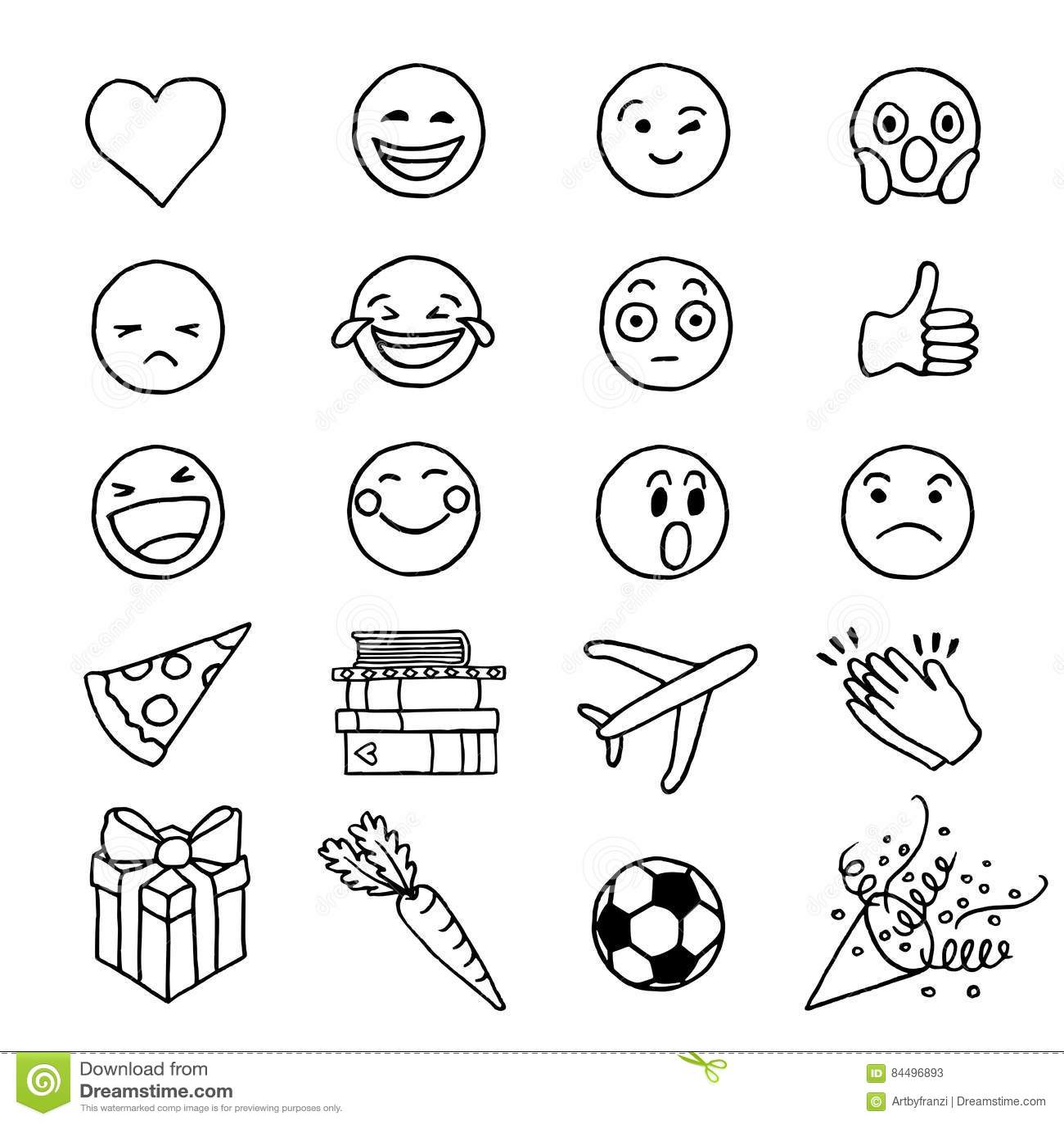 Hand Gezeichnetes Gekritzel Emoji Vektor Abbildung