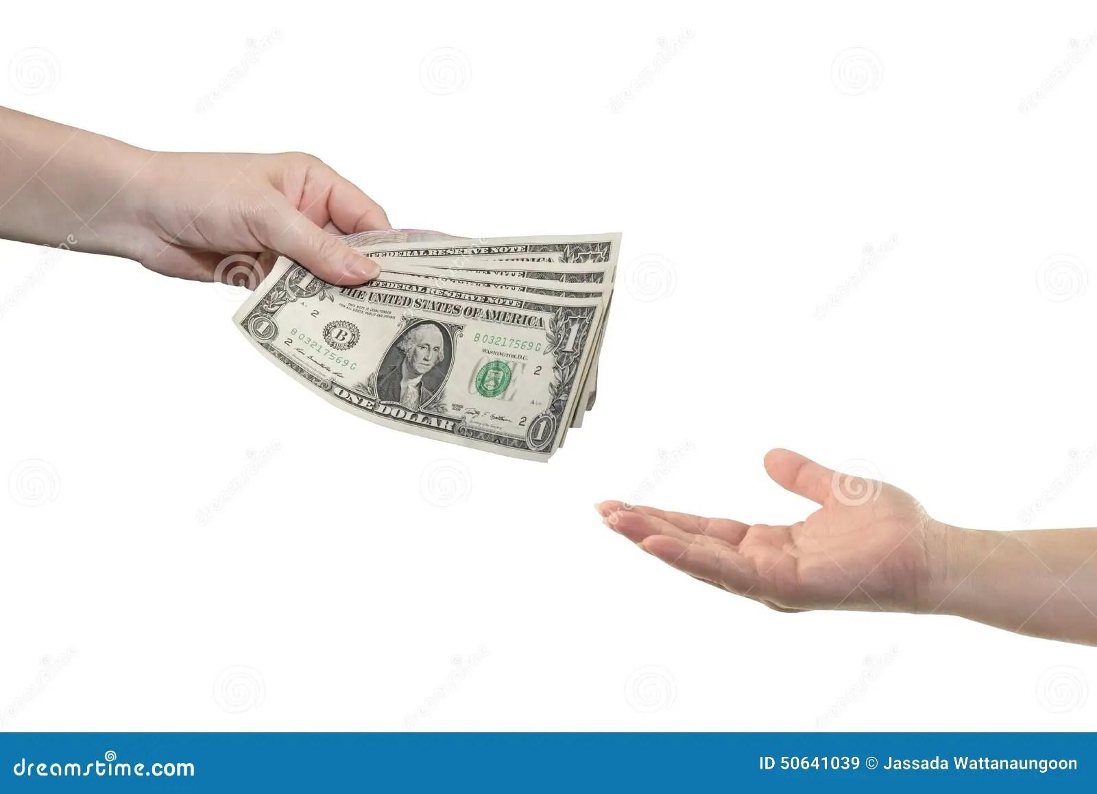 Hand Give Money Dollars On White Background Stock Image