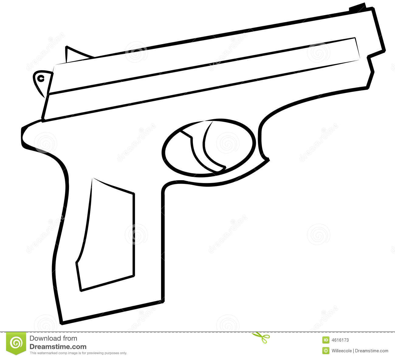Hand Gun Outline Stock Vector Illustration Of Protect