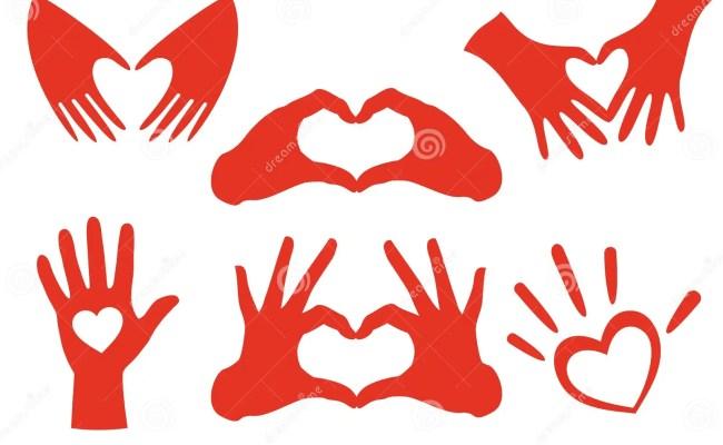 Hand Heart Set Vector Stock Vector Illustration Of