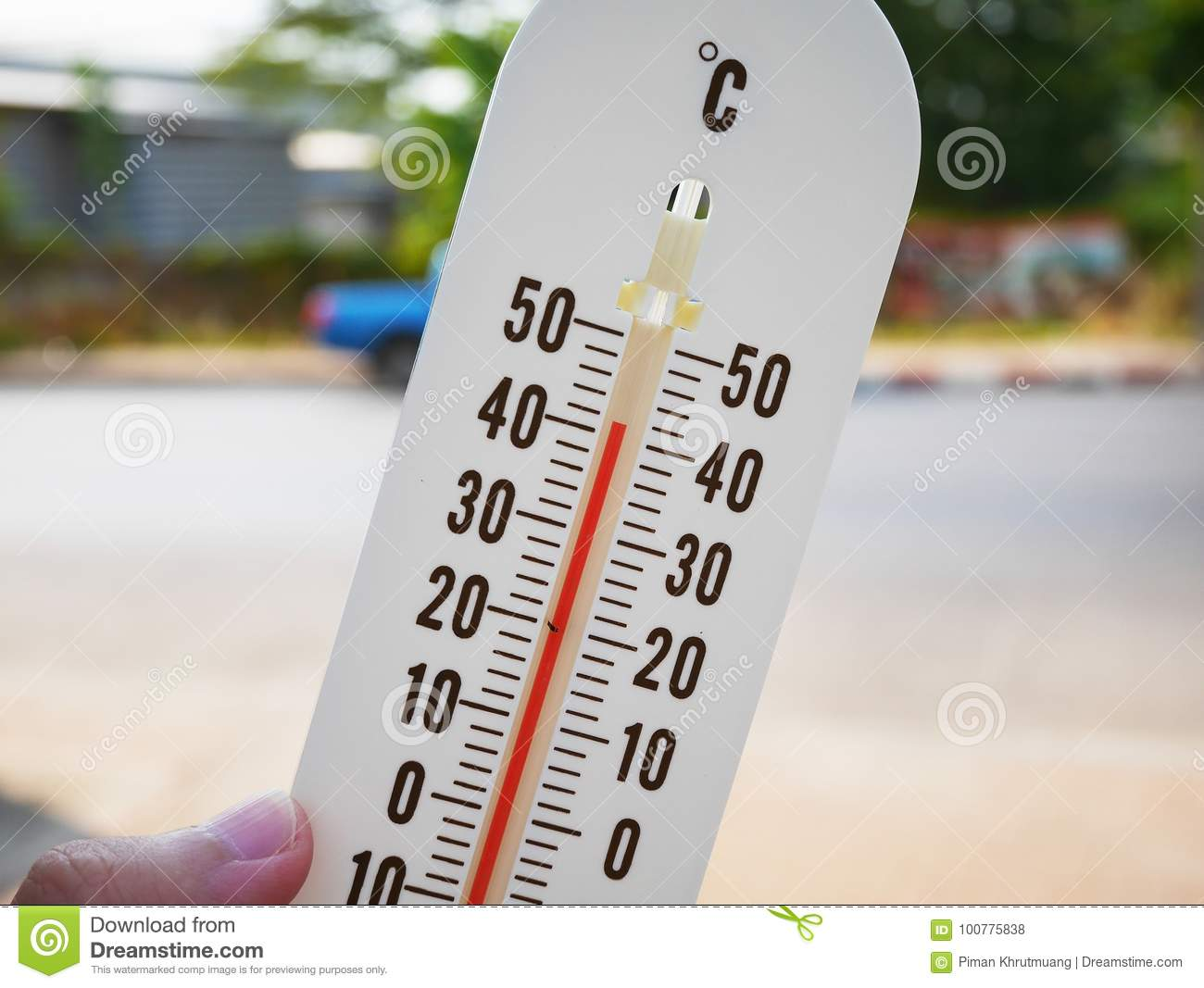 Thermometer Showing Temperature In Degrees Celsius Stock