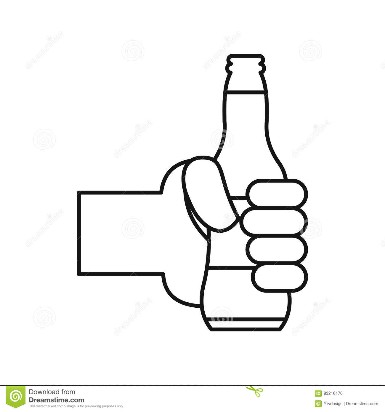 Hand Holding A Beer Bottle Icon Outline Style Stock