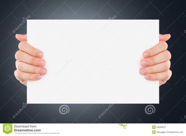 Hand Holding Blank Board Stock Of Paper - 36009870