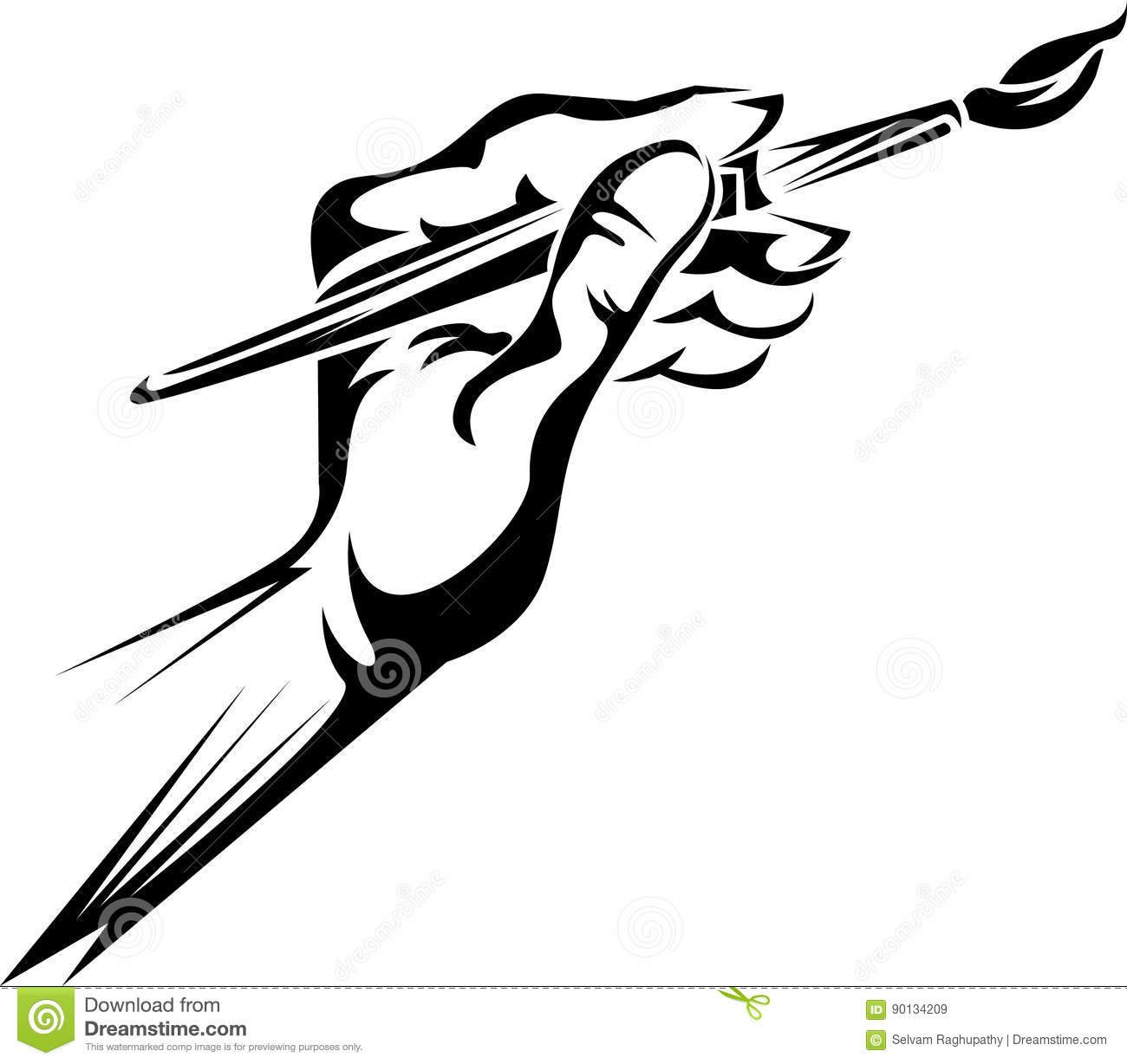 Hand Holding A Paint Brush Stock Vector Illustration Of