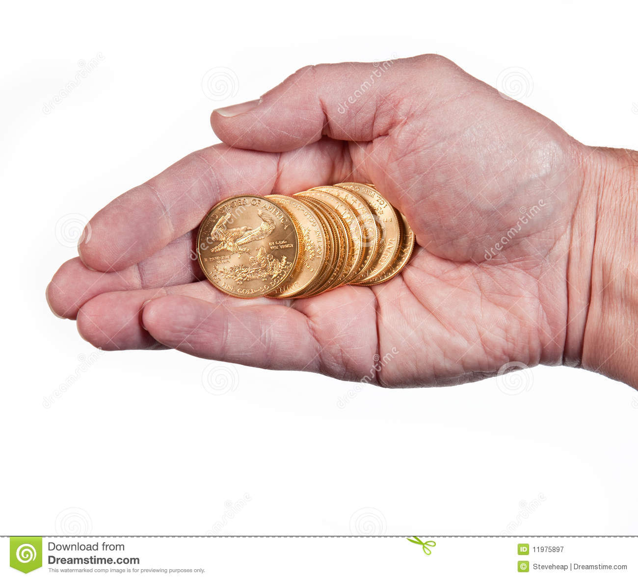 Hand Holding A Stack Of Gold Coins Royalty Free Stock