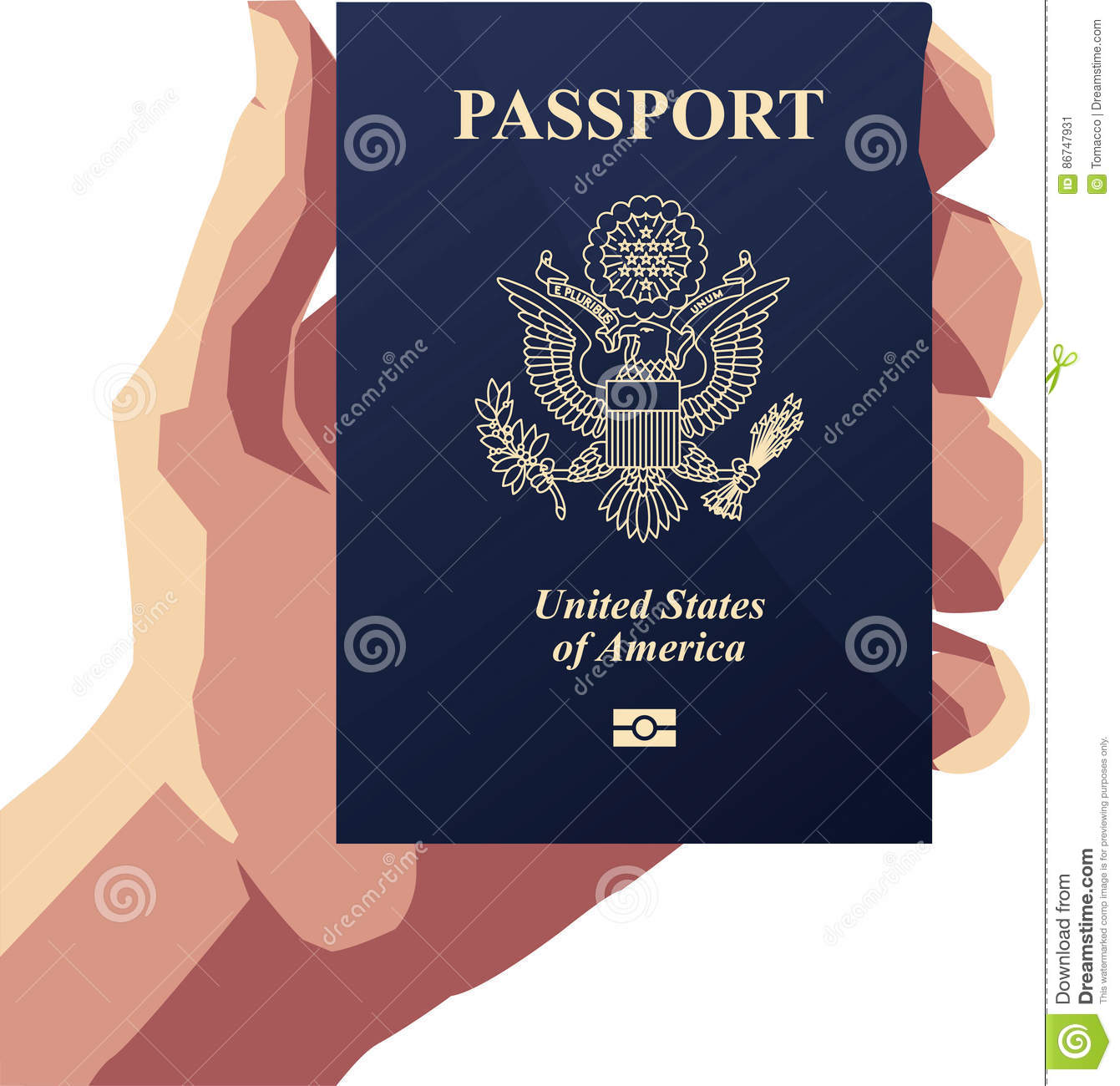Hand Holding United States Of America Passport Stock