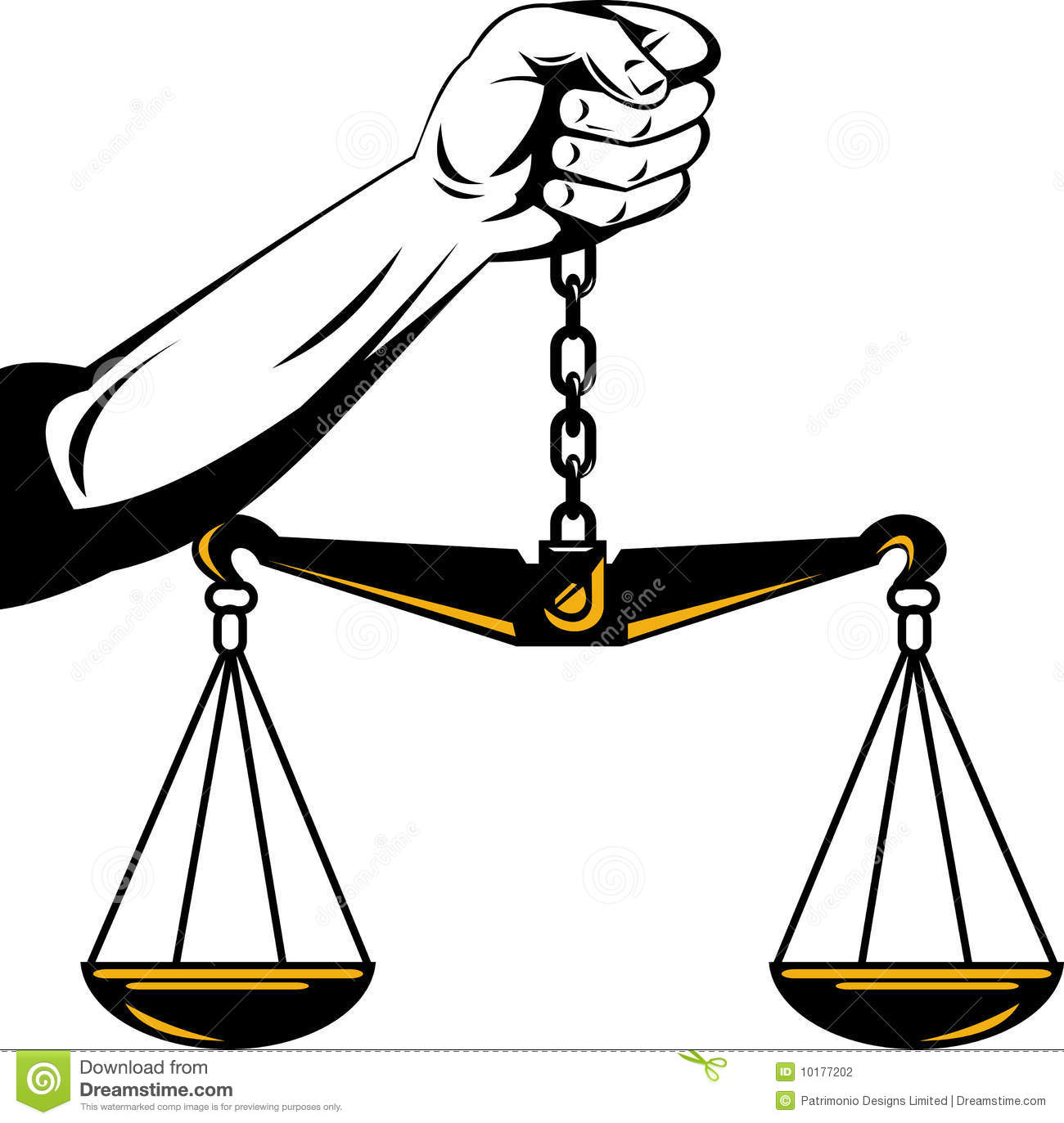 Hand Of Justice Weighing Scales Stock Vector