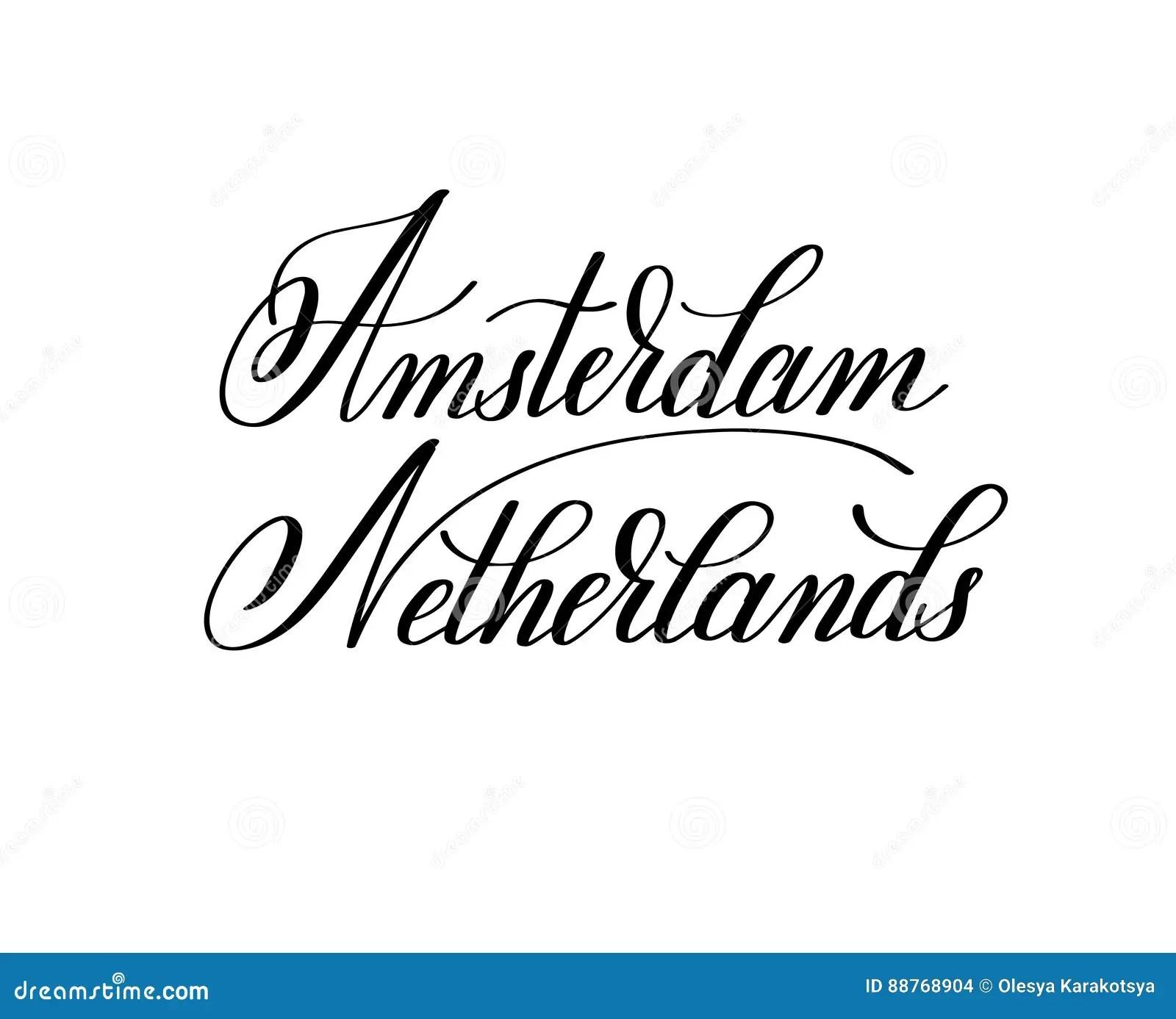 Amsterdam Lettering. Hand Written Amsterdam. The Flag Of