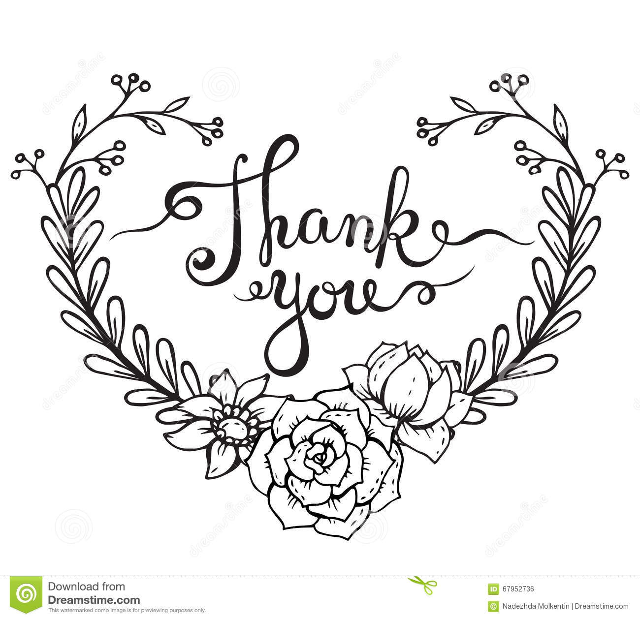 Hand Lettering Words Thank You With Floral Wreath Stock