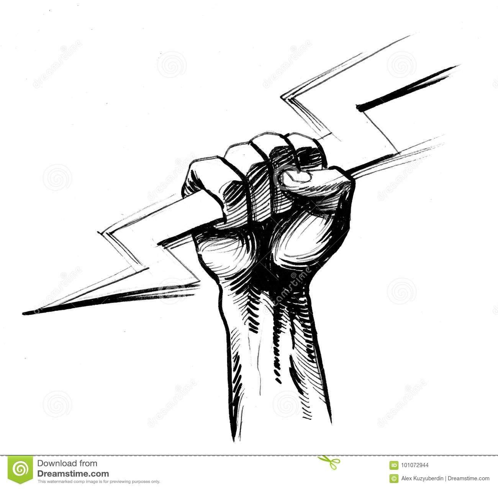Hand With A Lightning Bolt Stock Illustration