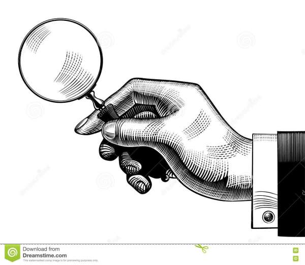 Hand With Magnifying Glass Stock Vector - Illustration Of Retro Detective 80447465